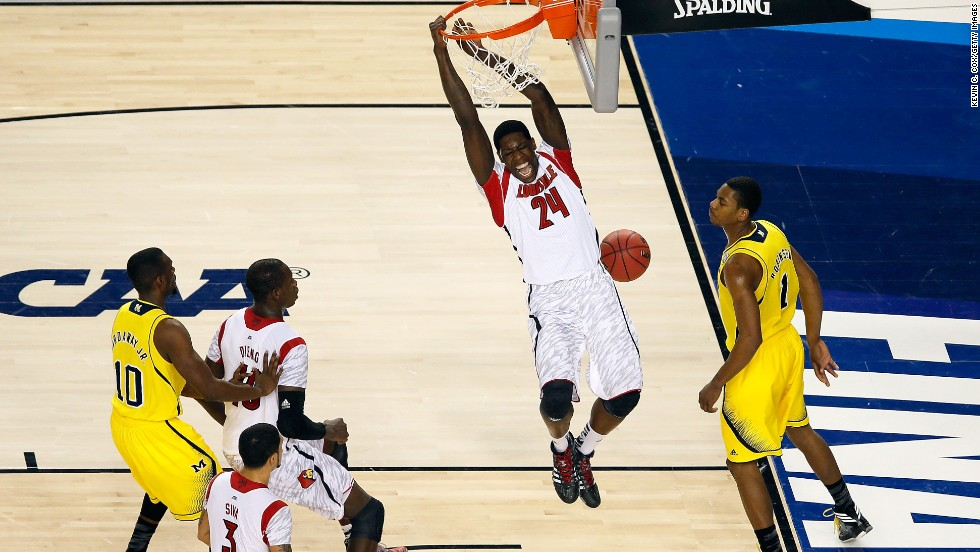 Montrezl Harrell of Louisville dunks an alley-oop pass.