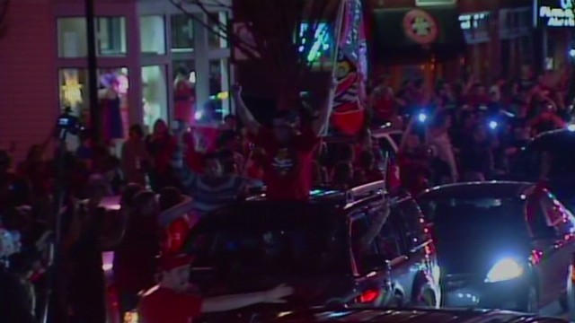 Louisville fans celebrate in the streets