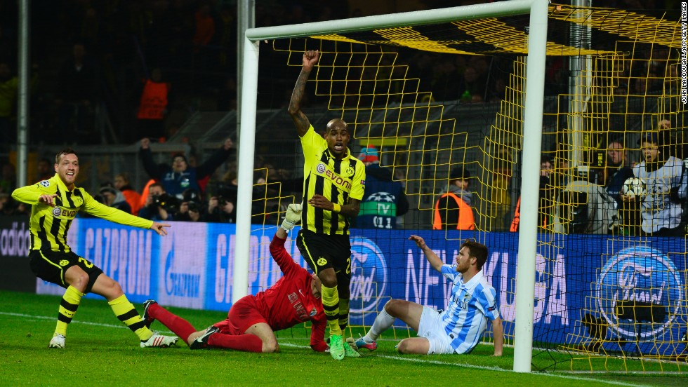 Malaga had looked home and dry but just two minutes after Marco Reus had leveled, Felipe Santana fired home a dramatic winner to spark scenes of wild celebrations amongst the home fans.