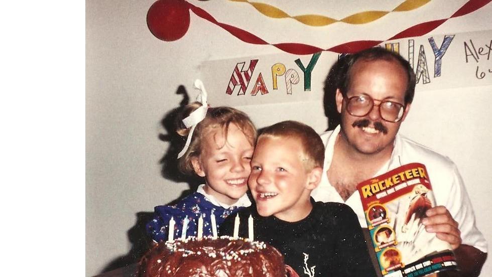 Megan celebrates with Alex on his 6th birthday with their dad, Tom Sullivan.