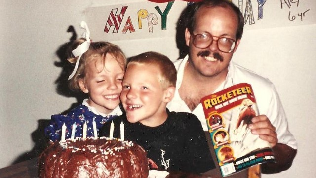 Megan celebrates with Alex on his 6th birthday with dad Tom Sullilvan.