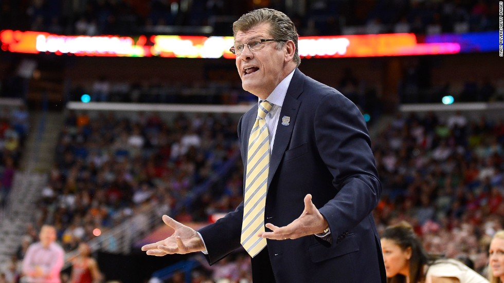 UCONN head coach Geno Auriemma reacts to a play during the championship game against Louisville on April 9.