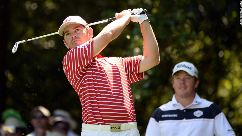 Louis Oosthuizen of South Africa hits a shot.