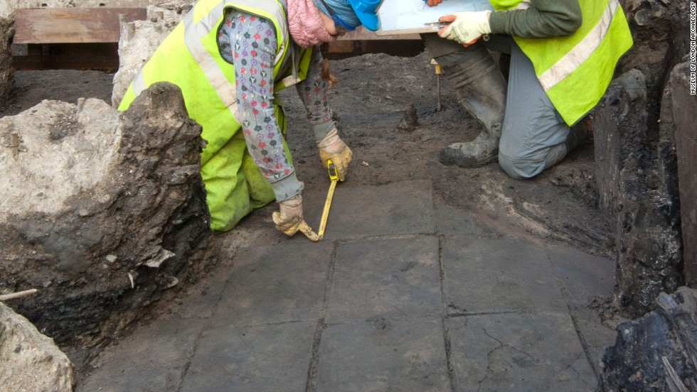 A Roman tiled floor. Some 75,000 man hours have been spent excavating and recording the extraordinary archeology on site.
