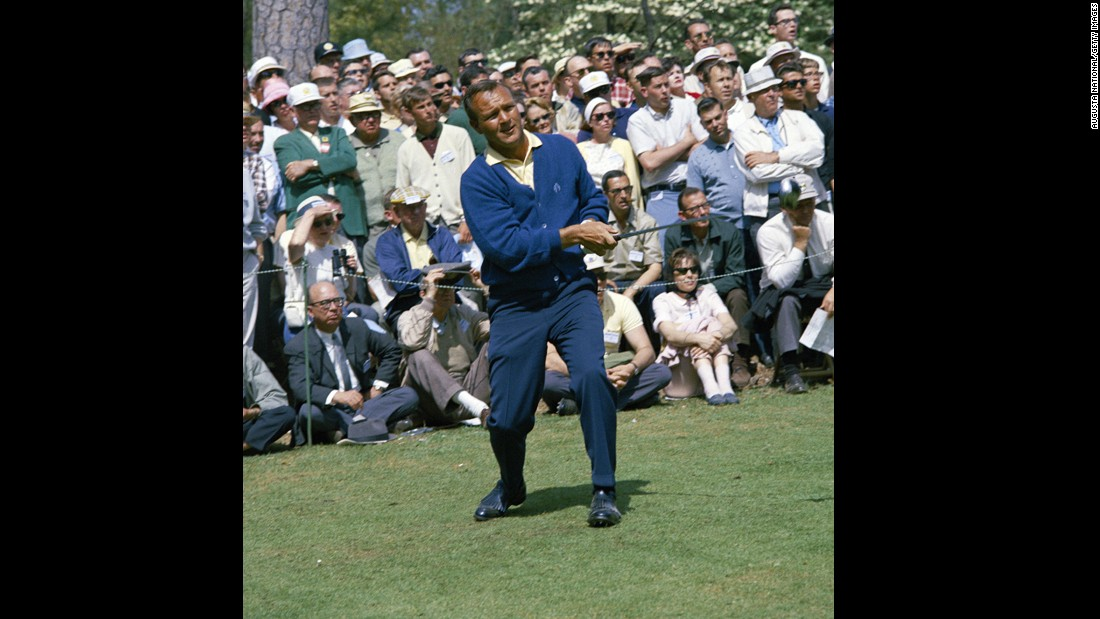 "Arnold Palmer teeing off at the 1960 Masters tournament. The American's victories  at the 1961 and 1962 Open Championship helped revive interest in the sport's oldest and most prestigious trophy.<br /><br />""I would like to be remembered for bringing golf to a worldwide audience,"" Palmer, who was known for his stylish presence on the course, <a href=""http://edition.cnn.com/2012/07/19/sport/golf/golf-palmer-legend-trailblazer/index.html"">told CNN in 2012</a>.<br /><br />""I liked a sharp crease in my slacks, my shoes polished to shine, while my shirts were conservative with a straight collar. It was a style I stuck with for most of my career."""