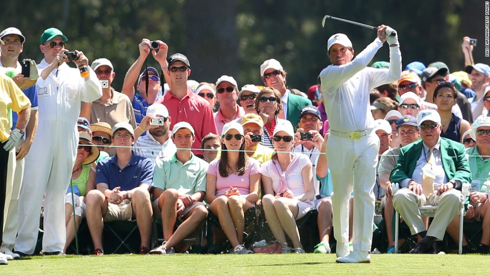 Gary Player of South Africa tees off.