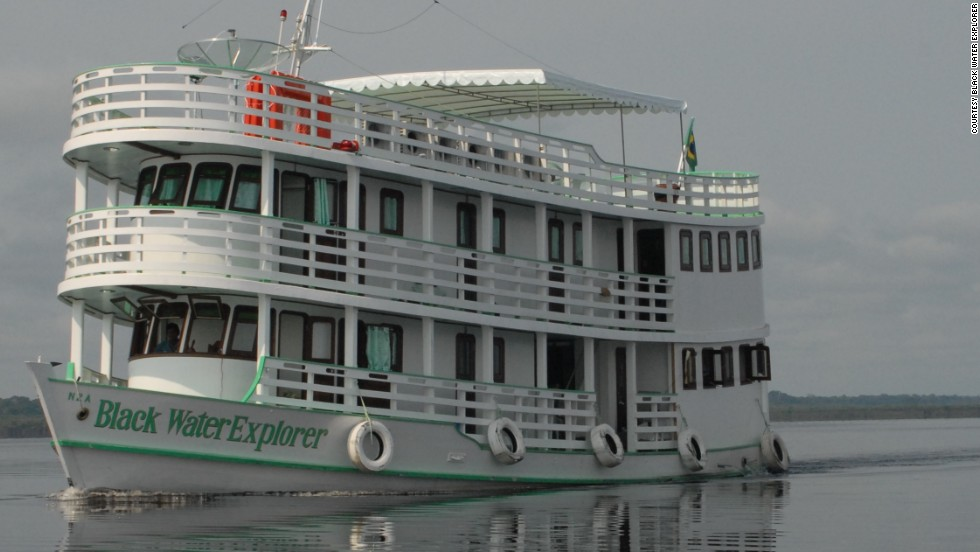 "More adventurous fishermen can cruise the Amazon River in a traditional three-deck riverboat, called the Black Water Explorer. ""The boat is big and wide and fully air-conditioned -- it's like a floating hotel,"" said expedition director Steve Townson."