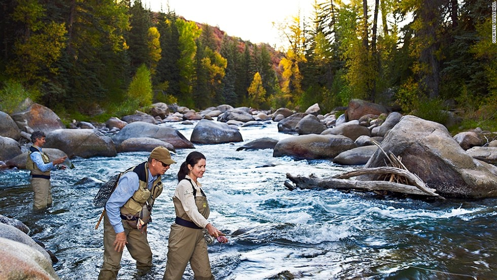 The spectacular scenery continues at Colorado's Rocky Mountains. Luxury hotel Little Nell's offers helicopter trips to a secluded lake, with fly-fishing showing guests the tricks of the trade.