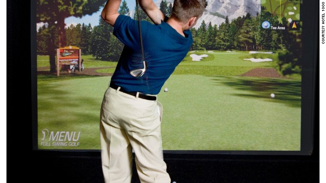 Hotel 1000's virtual reality Golf Club has more than 50 courses from around the world.