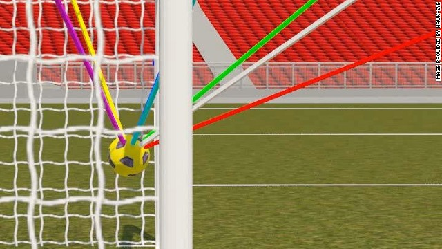 The Hawk-Eye system uses seven different cameras to track the ball and determine whether it has crossed the line