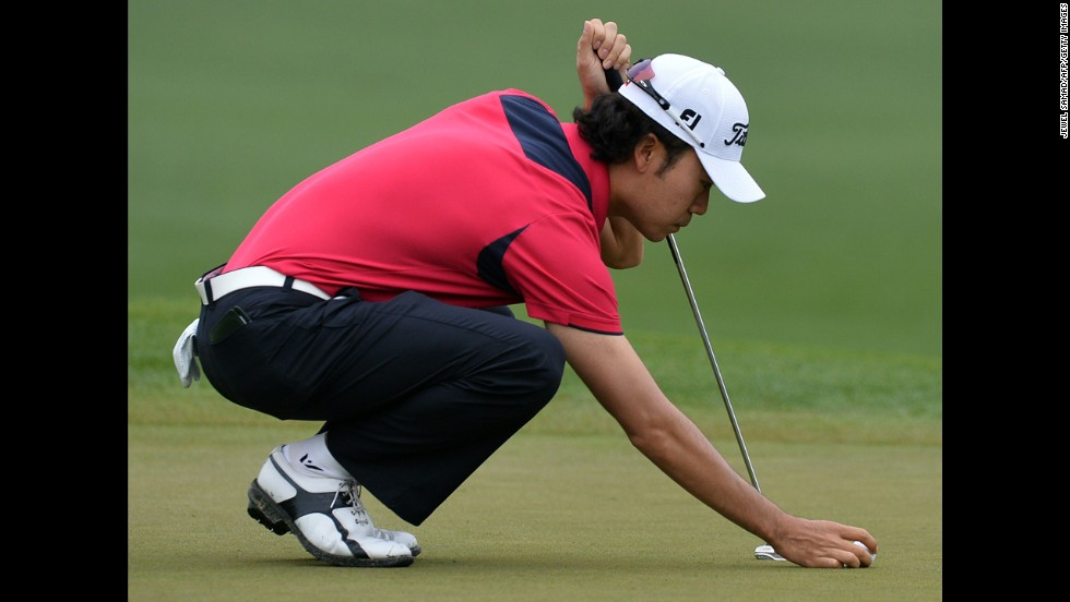 Kevin Na of the U.S. plays during the first round.
