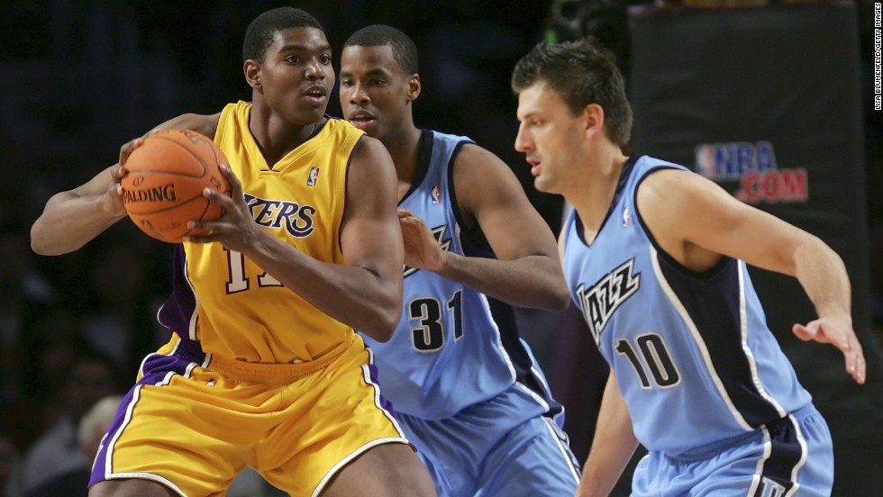 Big man Andrew Bynum went from high school to pro basketball, becoming the youngest player in the NBA. The Los Angeles Lakers took him with the 10th overall pick in the 2005 NBA Draft, and Bynum became a pro six days after his 18th birthday.