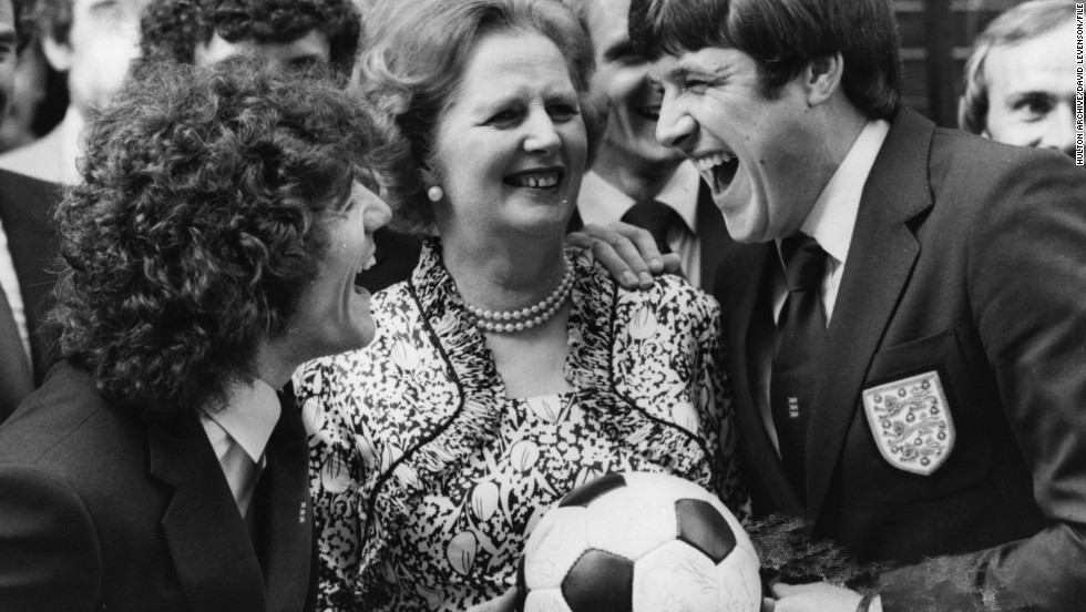 Margaret Thatcher's death has been met with an outpouring of tributes from around the world. But when it comes to the world of sport, there has been little love for the Iron Lady. Here she is pictured with the English national soccer team shortly after winning her first election in 1979.