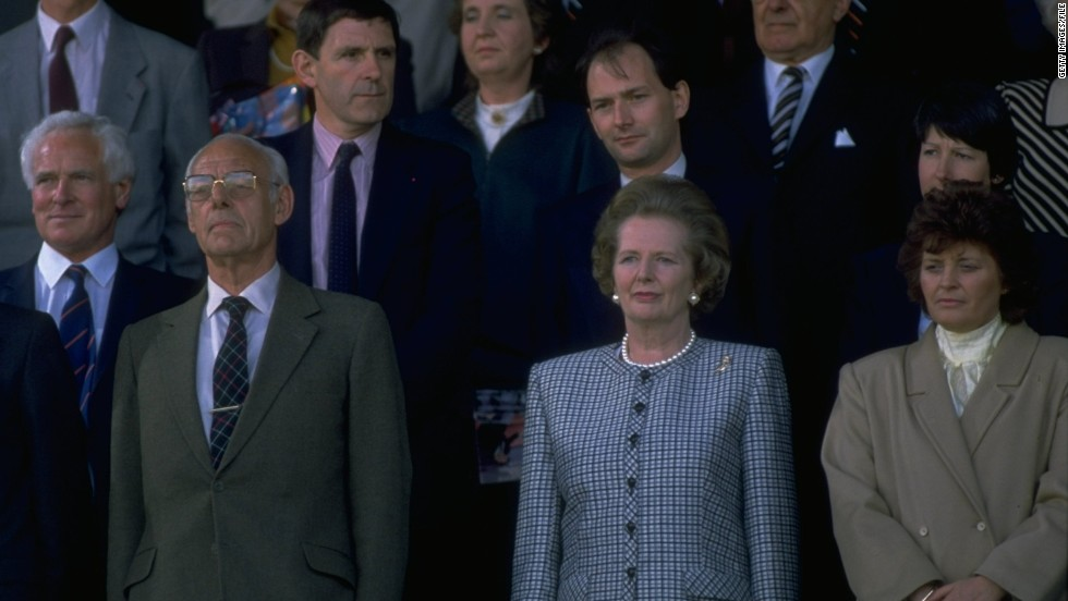 During her three terms in office, soccer experienced its darkest days. Hooliganism was rife, stadiums in a poor shape. Thatcher responded with draconian measures to stamp out the problem, forever alienating many soccer fans. In this picture she is attending the 1988 Scottish Cup final. Several figures within soccer suggested that this weekend's matches should see a minute silence before kick-off, which prompted a furious reaction from fans.