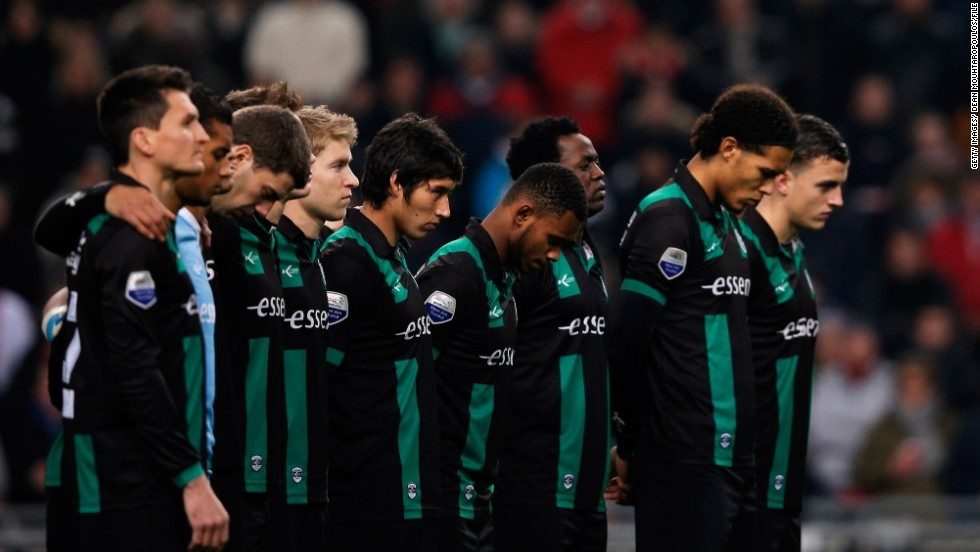 A minute's silence is usually held before kick off as a mark of respect for well-known sporting figures, or during moments of national tragedy and reflection. Here a Dutch league club observe a minute's silence to honor an amateur linesman who had died after being attacked during a youth match. The death had shocked the Netherlands and made headlines across the world.