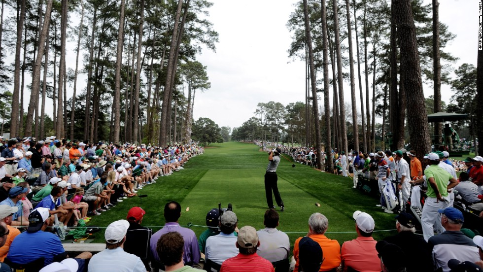 Tiger Woods of the U.S. tees off on the 17th hole.