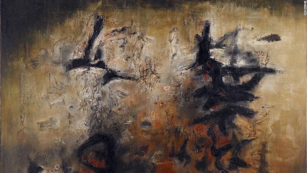 "Born in Beijing in 1920, Zao was one of the few Chinese artists from his generation to emigrate to Europe, where he remained in France until his death. This is his 1957 oil on canvas, ""Nous deux."""