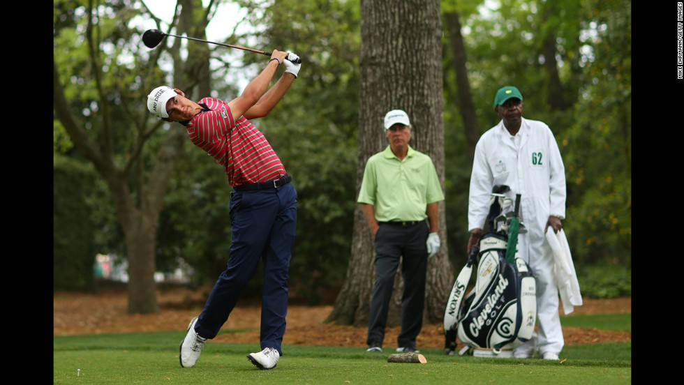 Matteo Manassero of Italy hits a tee shot on the second hole.