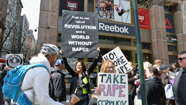 A protest against Reebok for not firing rapper Rick Ross over sexist and violent lyrics outside the Reebok Flagship Store In New York on April 4, 2013.