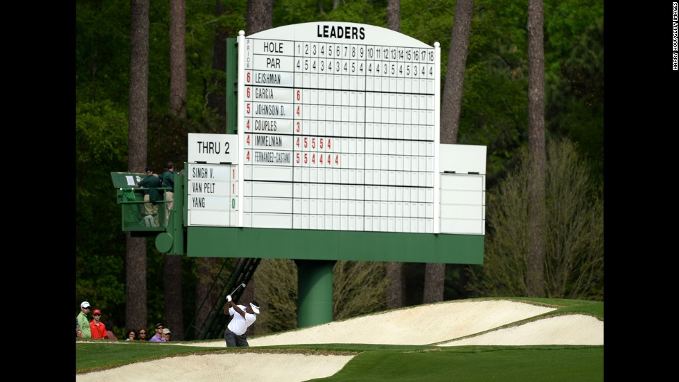 Fiji's Vijay Singh plays from a bunker on the third hole on April 12.