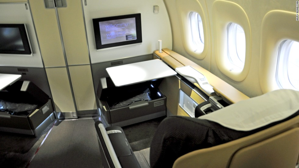 Lufthansa's first-class cabin is touted as the quietest in the world. Suede walls, floors and curtains are designed to absorb or insulate sound. This plane is fitted out with eight first-class seats; each is 80 centimeters wide and when flat offers 207 centimeters of space.
