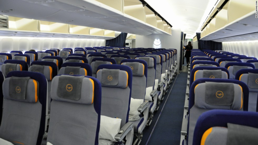 The economy class seating plan sports a 3-4-3 configuration and can accommodate a total of 298 passengers. An improvement is extra head space -- some overhead storage space has been relocated into the curved walls.