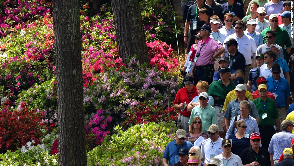 Golf fans watch play during the second round.