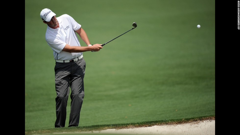 Marc Leishman of Australia plays during the second round.
