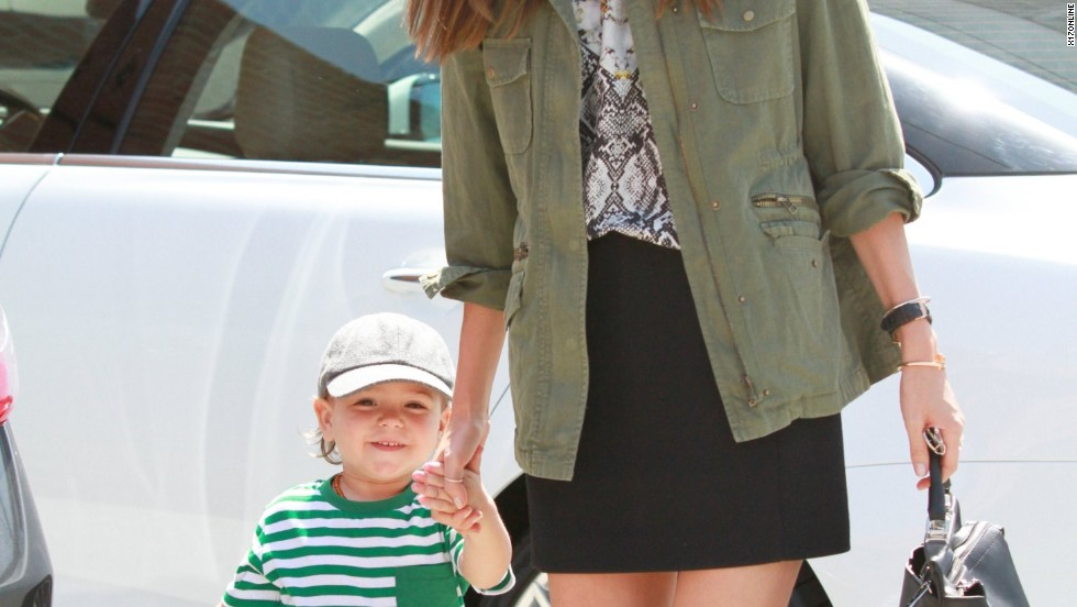 Miranda Kerr runs errands with her son.