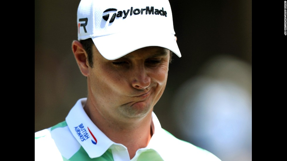 Justin Rose of England plays during the second round.