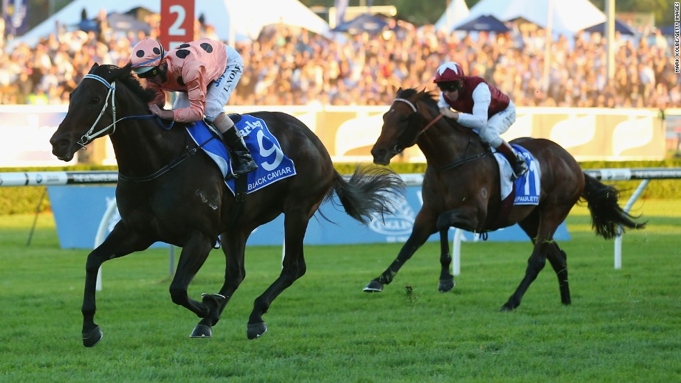 Luke Nolan rides Black Caviar to her 25th consecutive win at Royal Randwick Racecourse on April 13 in Sydney, Australia.