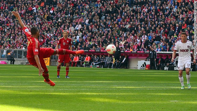 Jerome Boateng opens the scoring for Bayern Munich against Nuremburg at the Allianz Arena.