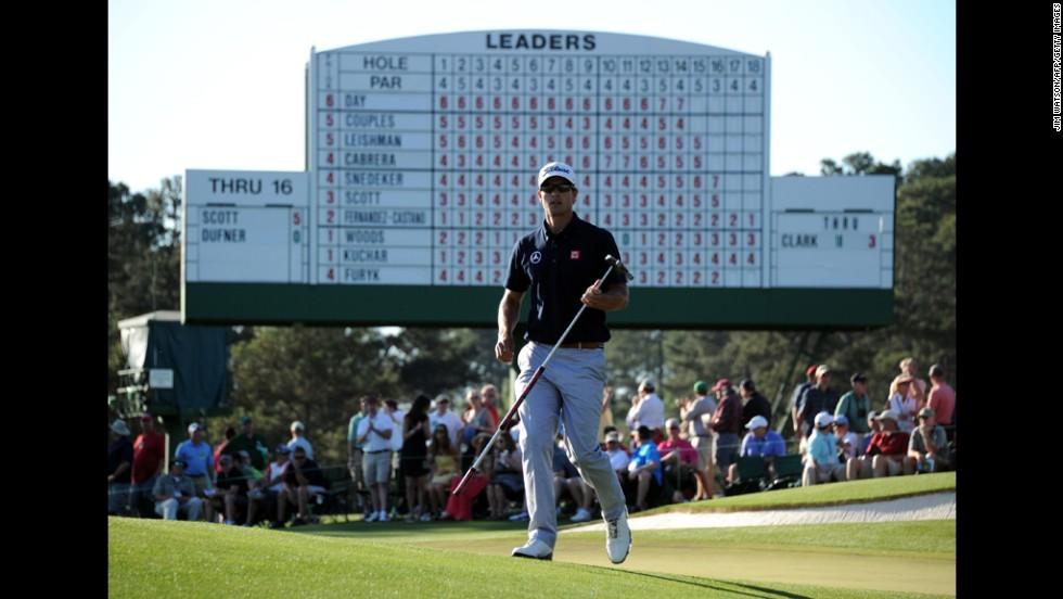 Adam Scott of Australia plays during the third round.