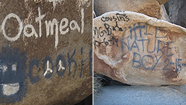 Graffiti on boulders at Joshua Tree National Park.