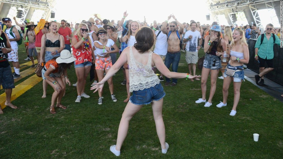 Fans dance during Day One of the festival on April 12.