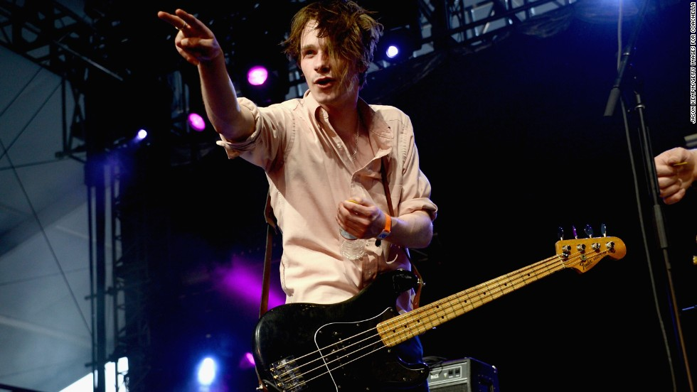 "Alexander ""Chilli"" Jesson of Palma Violets performs during Day One of the festival on April 12."