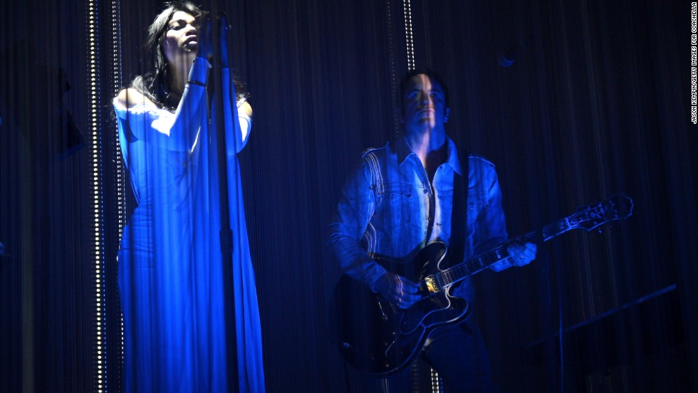 Mariqueen Maandig Reznor, left, and Trent Reznor of How to Destroy Angels perform on April 12.