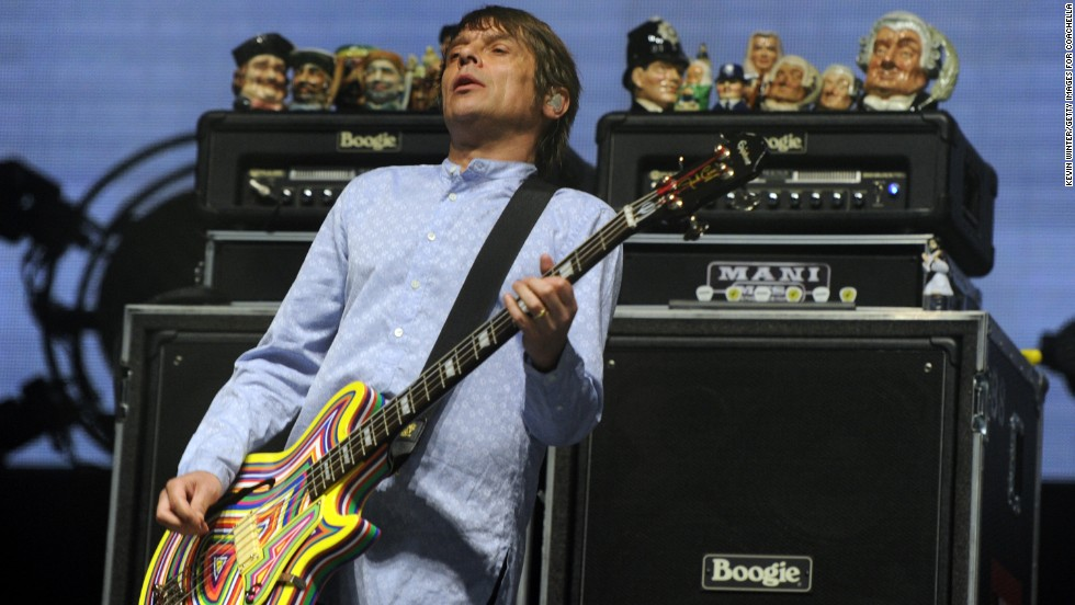 Gary Mounfield of The Stone Roses performs on April 12.