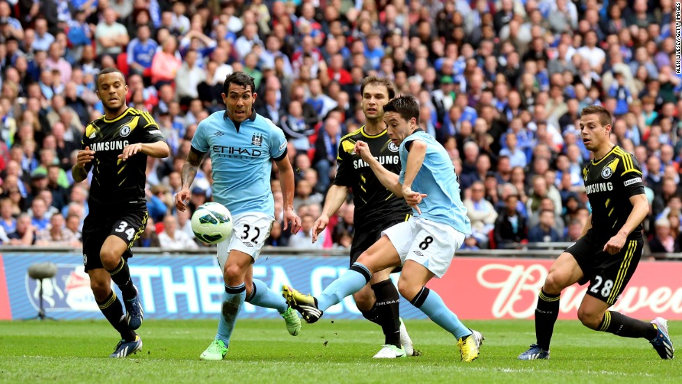 Samir Nasri gave Manchester City a 35th minute lead in its FA Cup semifnal against Wembley at Chelsea. The Frenchman darted into the penalty area before lashing the ball past goalkeeper Petr Cech.