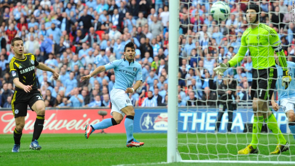 Sergio Aguero's looping header just two minutes after the interval doubled City's lead as Roberto Mancini's men took complete control of the contest.