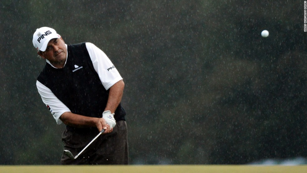 Angel Cabrera chips on the first sudden-death playoff hole.