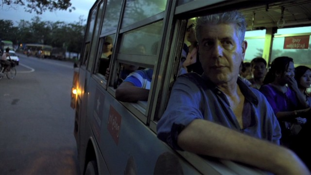 Anthony Bourdain on a bus in Myanmar