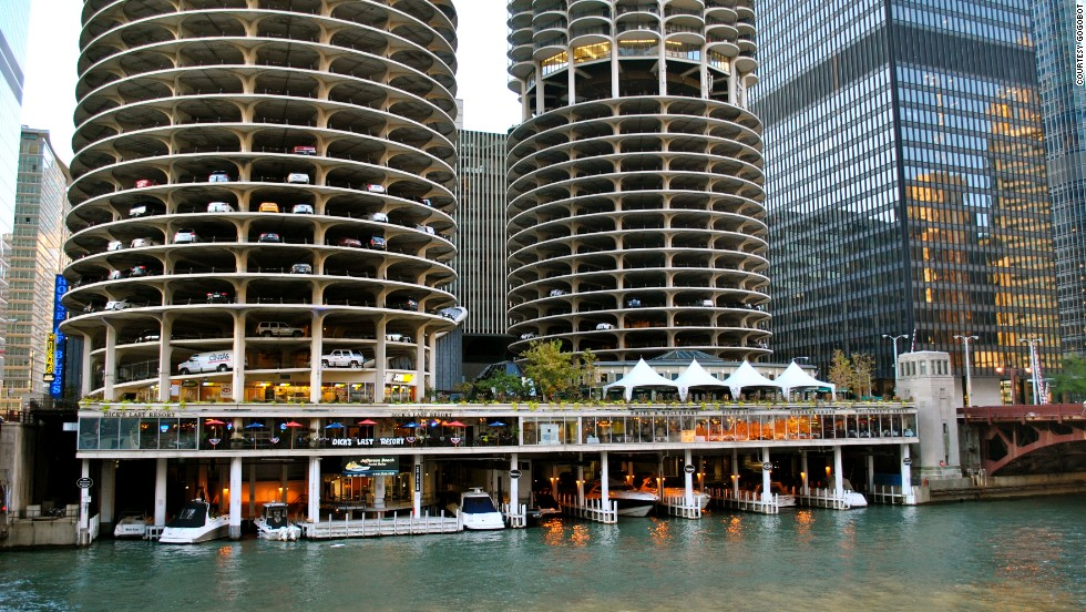 "<a href=""http://www.architecture.org/tours"" target=""_blank""><strong>Architecture River Cruise, Chicago, Illinois.<strong></a></strong> </strong>The Chicago Architecture Foundation's River Cruise floats by some of the city's most remarkable buildings, including the Marina City towers which were designed by Bertrand Goldberg and opened in 1962."