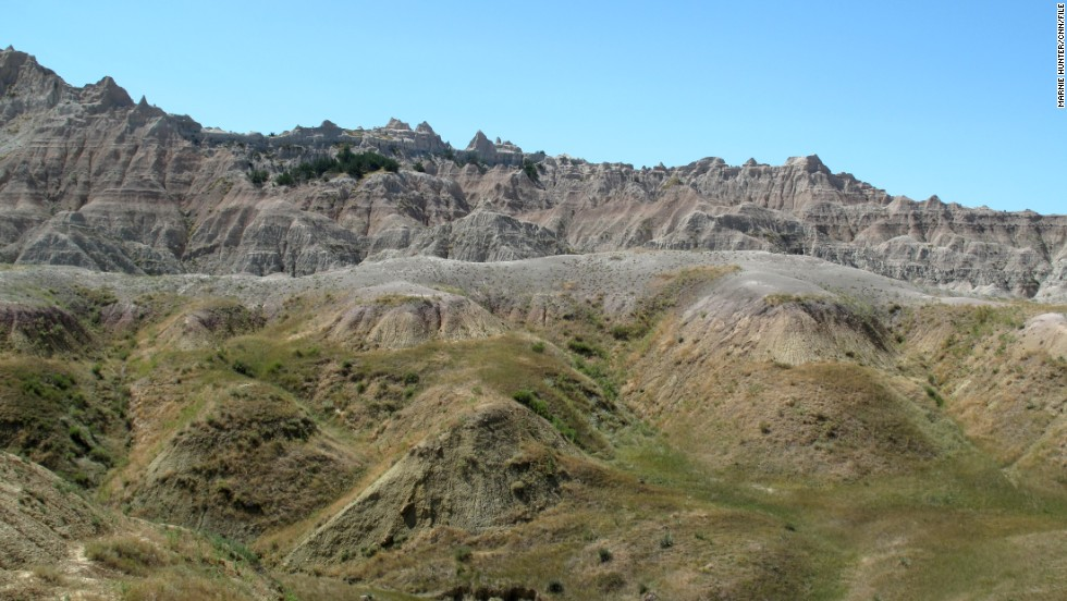 Badlands National Park in South Dakota encompasses one of the world's richest fossil beds. Millions of years of sediment has eroded sharply in the past half million years, creating the starkly beautiful terrain.