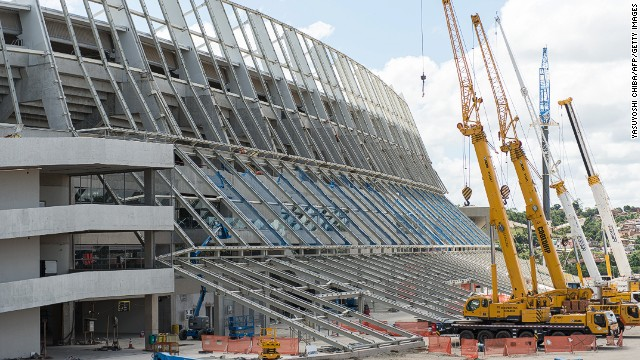 The rush to open Recife's stadium ahead of FIFA's deadline is revealed by the cranes outside the Arena Pernambuco on Sunday