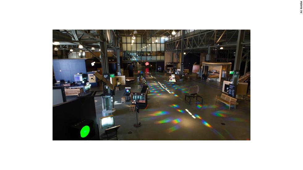 Exhibits line one of the cavernous main halls at the new Exploratorium.