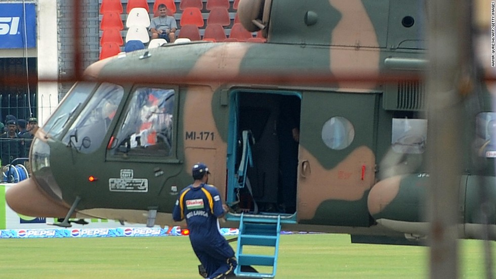 Sri Lanka's national cricket team was evacuated by helicopter during its tour to Pakistan in 2009 after seven people were killed when the team bus was attacked in Lahore.