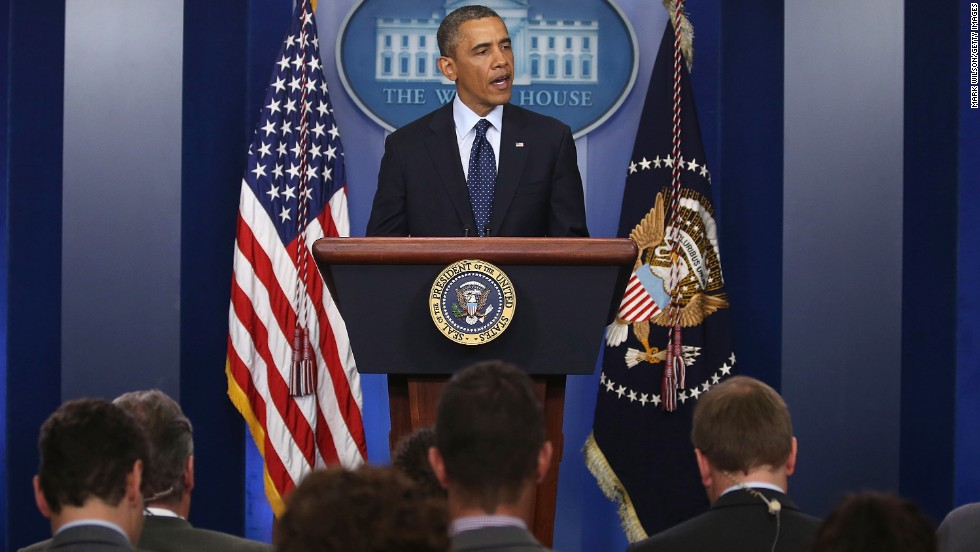 President Barack Obama makes a statement Monday evening.
