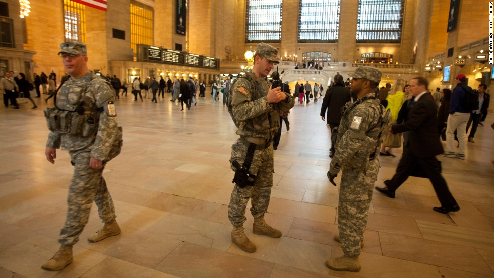 Members of the U.S. Army National Guard Joint Task Force Empire Shield patrol Grand Central Terminal in New York on Tuesday.