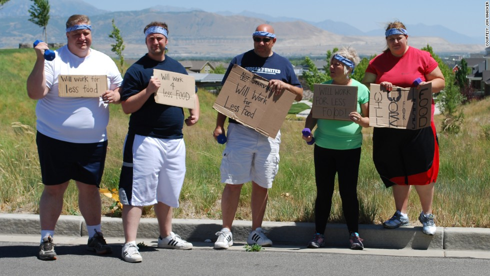 "In June 2012, the ""Will Work for Less Food"" team weighed a collective 1,560 pounds. From left: Jon Whicker, Jordan Teuscher, Dan Teuscher, Becki Teuscher and Erin Teuscher."